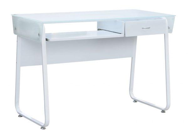 שולחן מחשב לבן | שולחן מחשב זכוכית דגם גרף | שולחן כתיבה לבן